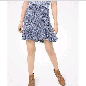 Ikat-print ruffled mini skirt